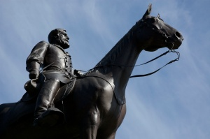 The Virginia Memorial on Seminary Ridge, Robert E. Lee on his horse, Traveller.