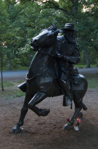 "Confederate General James Longstreet's memorial. This is one of the newest memorials on the grounds, the success of ""The Killer Angels"" and the movie Gettysburg is credited with renewing interest and motivating the placement of his memorial statue."